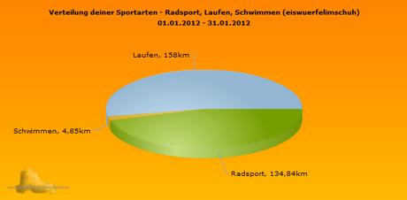 Monatsübersicht Januar 2012 Sportics Sportarten Gesamtkilometer