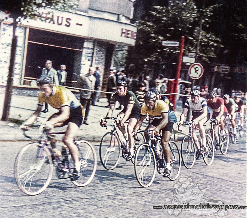 Radsport Foto Straßenrennen ein Grünes Trikot - in Gelb Burkhard Ebert - in Gelb Günter Mendyka