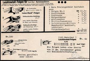Vintage Rennrad Katalog - Felgen Holz Leichmetall 2