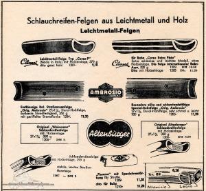 Vintage Rennrad Katalog - Felgen Holz Leichmetall