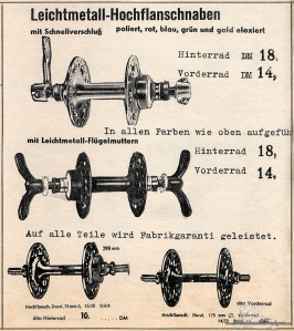 Vintage Rennrad Katalog - Flanschnaben mit Flügelmutter