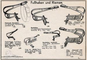Vintage Rennrad Katalog - Fußhaken und Rieme