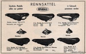 Vintage Rennrad Katalog - Rennsättel Brooks 1