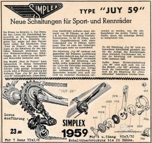 Vintage Rennrad Katalog - Schaltung Simplex 1959